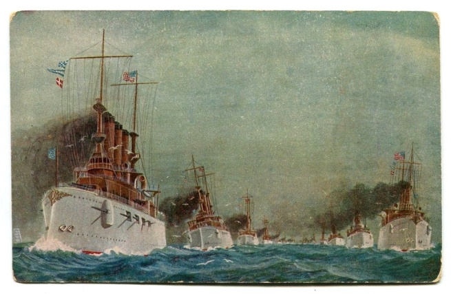 Semco Series. 'American Fleet Souvenir Post Card' (front) 1908