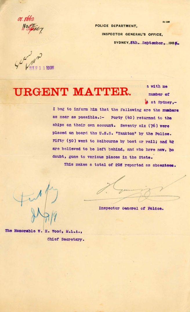 "Police Department, Inspector General's Office, Sydney ""URGENT MATTER"" 8th September, 1908"
