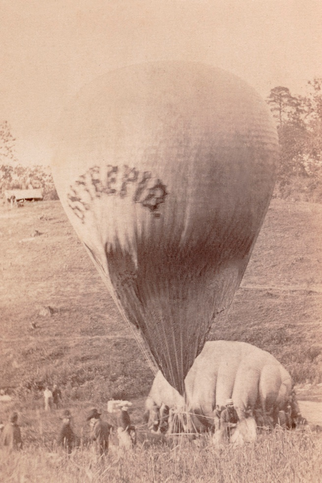 Brady Studio (American active c. 1843-1885) 'Professor Lowe inflating balloon Intrepid' 1862
