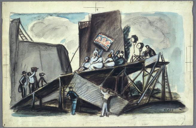 "Ernst Stern. 'Paul Leni's ""Das Wachfigurenkabinett (Le cabinet des figures de cire)""' (Wax Works) 1924"