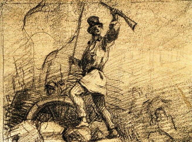 Gustave Courbet. 'Home en blouse debout sur une barricade (projet de frontispice pour Le Salut public)' 1848