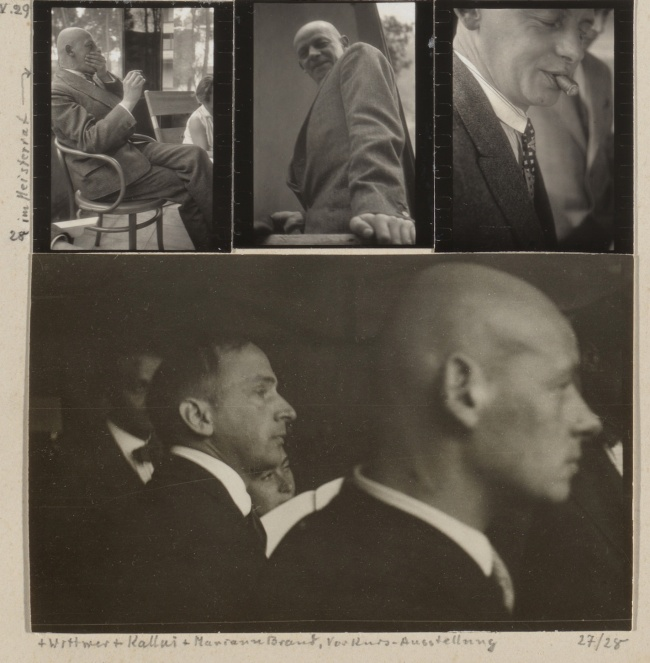 Josef Albers (American, born Germany 1888-1976) 'Oskar Schlemmer, April 1929; Schlemmer in the Bauhaus Masters' Council, 1928; Schlemmer with Hans Wittwer, Ernst Kállai, and Marianne Brandt, Preliminary Course Exhibition, 1927/28; Schlemmer and Tut, summer 1928; Schlemmer, April 1930; Schlemmer, 1928' 1927/1929 (detail)