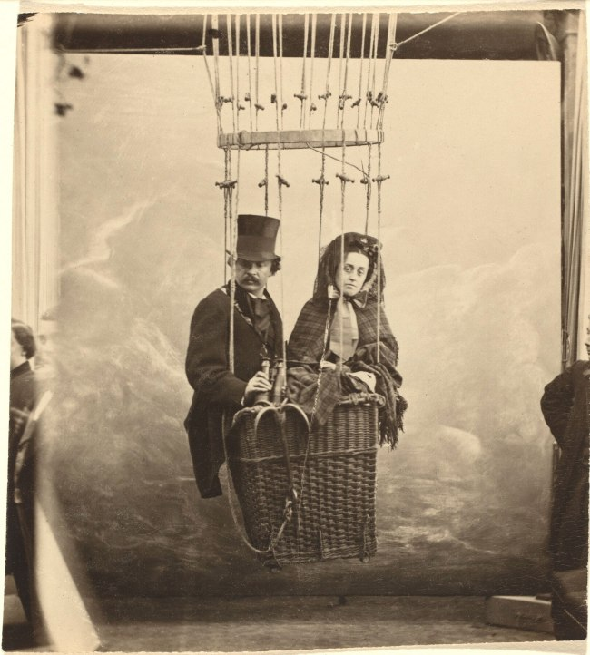Nadar. 'Self-Portrait with Wife Ernestine in a Balloon Gondola' c. 1865