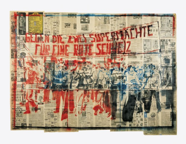 Sigmar Polke. 'Against the two superpowers - for a red Switzerland' (1st version) 1976
