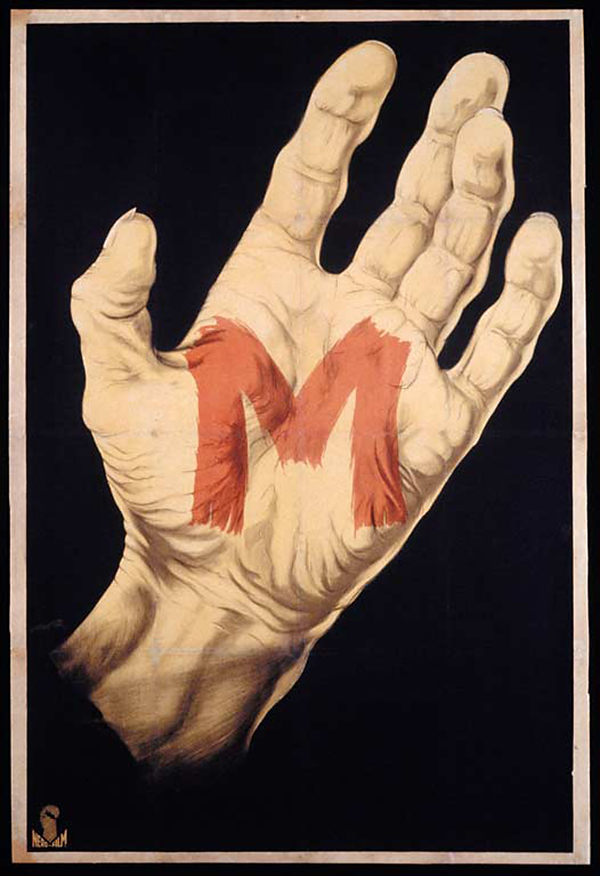 "Unknown artist. 'Poster for ""M""' 1931"