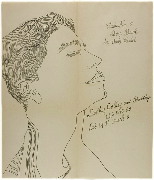 Andy Warhol. 'Studies for a Boy Book' exhibition announcement for Bodley Gallery c. 1956