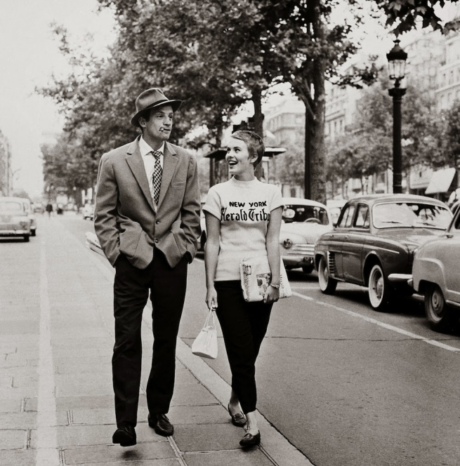 Raymond Cauchetier (French, born 1920) 'Jean Paul Belmondo & Jean Seberg, Paris, 1959' 1959