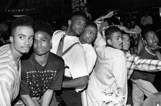 Chantal Regnault. 'From left, Whitney Elite, Ira Ebony, Stewart and Chris LaBeija, Ian and Jamal Adonis, Ronald Revlon, House of Jourdan Ball, New Jersey' 1989