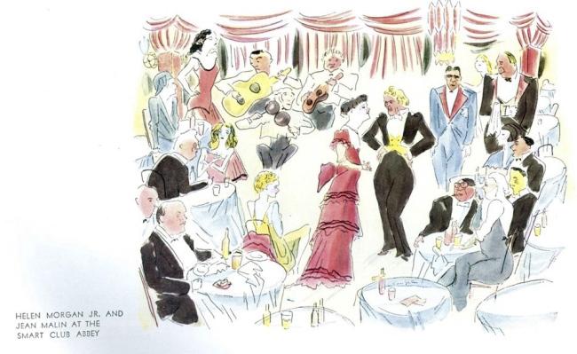 "Foujita. ""Helen Morgan Jr. And Jean Malin at the Smart Club Abbey,"" 'Vanity Fair' February 1931"