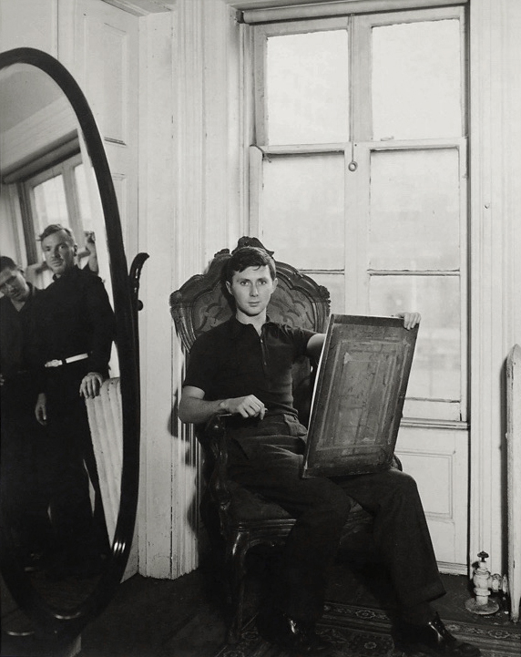 George Platt Lynes. 'George Tooker at 5 St. Luke's Place, New York, with Paul Cadmus and Jared French in Mirror' c. 1940