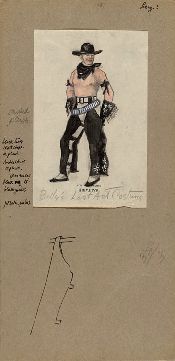 "Jared French. 'Billy the Kid costume sketch for ""Billy's Last Act""' 1938"
