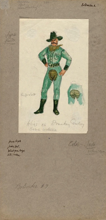 "Jared French. 'Billy the Kid costume sketch for ""Alias as Drunken Cowboy""' 1938"