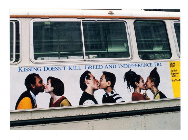 Design by Gran Fury for Art Against AIDS/On The Road and Creative Time, Inc. 'Kissing Doesn't Kill: Greed and Indifference Do' 1989