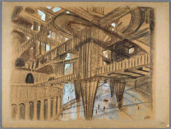 "Otto Hunte. 'Set design drawing for ""Metropolis""' 1923"