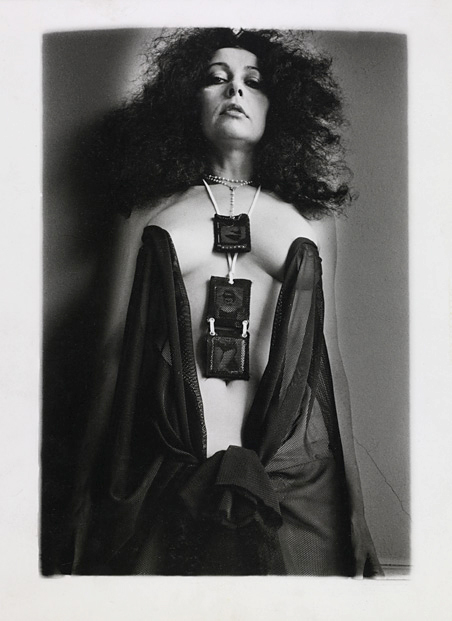 Ultra Violet modeling Mapplethorpe-designed jewelry, c. 1975