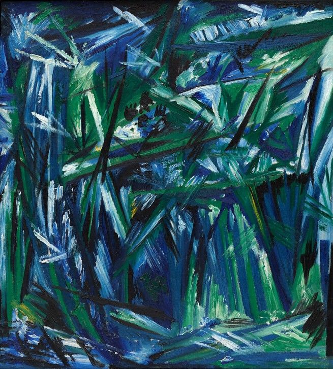 Natalia Goncharova (Russian, 1881-1962) 'Rayonism, Blue-Green Forest' 1913