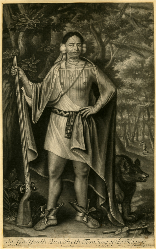 John Simon (c. 1675-1751) after John Verelst (1648-1734) 'Sa Ga Yeath Qua Pieth Tow, King of the Maquas' 1710