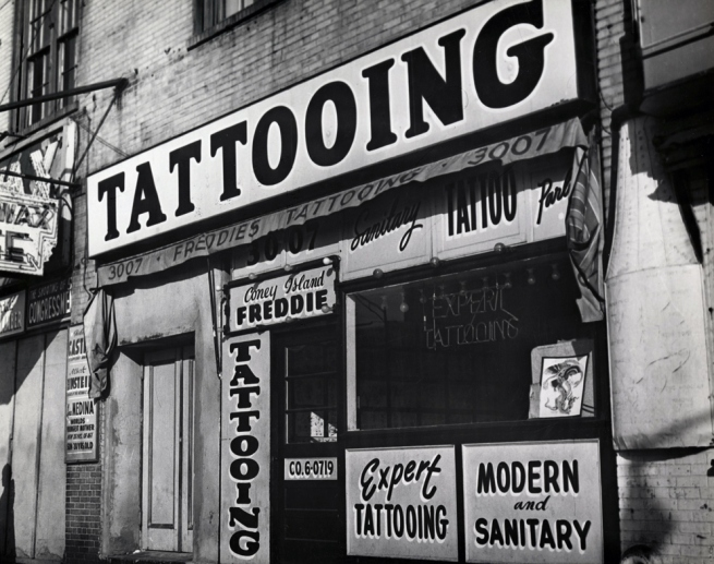 "Irving Herzberg (1915-1992) 'Tattoo shop of ""Coney Island Freddie"" just prior to New York City's ban on tattooing' 1961"