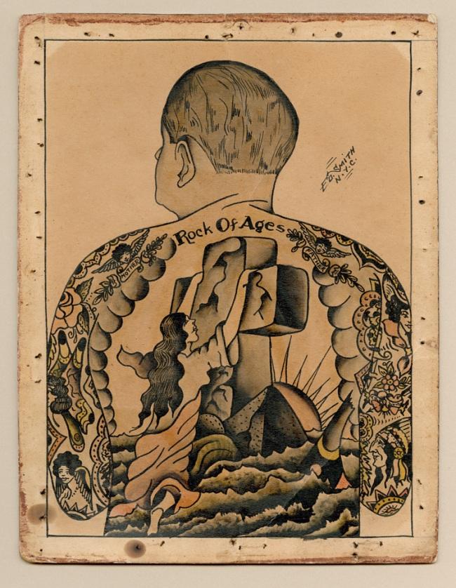 Ed Smith (active c. 1920-40) 'Self-portrait showing Rock of Ages back piece' c. 1920