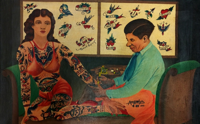Ace Harlyn (active c. 1930-40) 'Charlie Wagner tattooing Millie Hull' 1939