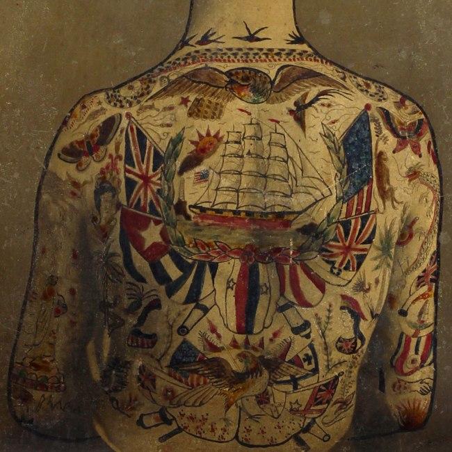 "Augustus ""Gus"" Wagner. 'Self-Portrait, Tattoo Flash' c. 1910-1930 (detail)"