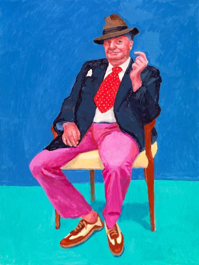 "David Hockney. ""Barry Humphries, 26-28 March"" 2015 Acrylic on canvas 48 x 36"" © David Hockney"