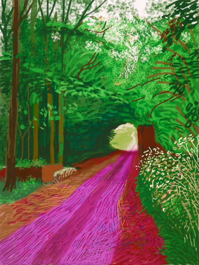 "David Hockney ""The Arrival of Spring in Woldgate, East Yorkshire in 2011 (twenty eleven) - 31 May, No. 1"" iPad drawing © David Hockney"