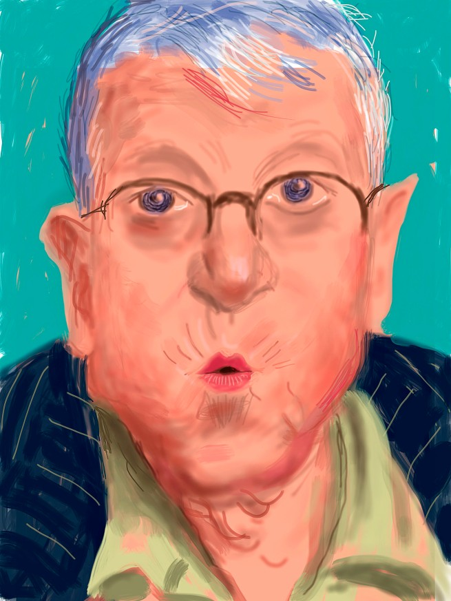 "David Hockney. ""Self Portrait, 25 March 2012, No. 2"" iPad Drawing © David Hockney"