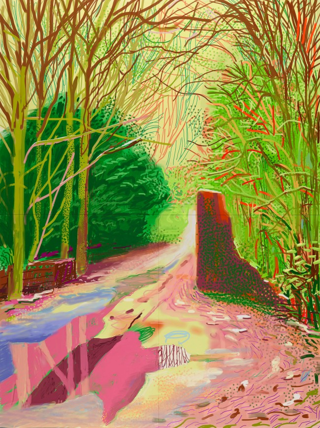 "David Hockney. ""The Arrival of Spring in Woldgate, East Yorkshire in 2011 (twenty eleven) - 29 January"" iPad drawing © David Hockney"