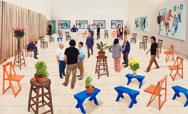 David Hockney (English 1937- ) '4 blue stools' 2014