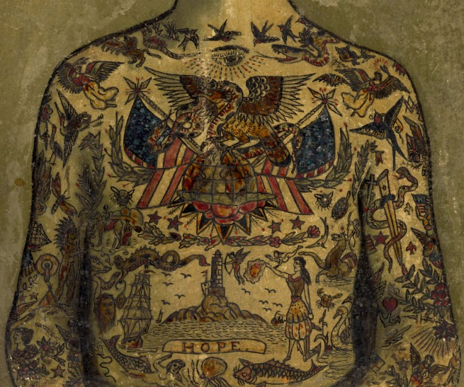 "Augustus ""Gus"" Wagner. 'Self-Portrait, Tattoo Flash' c. 1910-1930 (detail)"