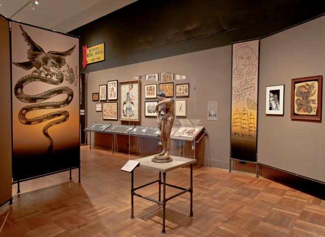Installation view of the exhibition 'Tattooed New York' at the New-York Historical Society, New York