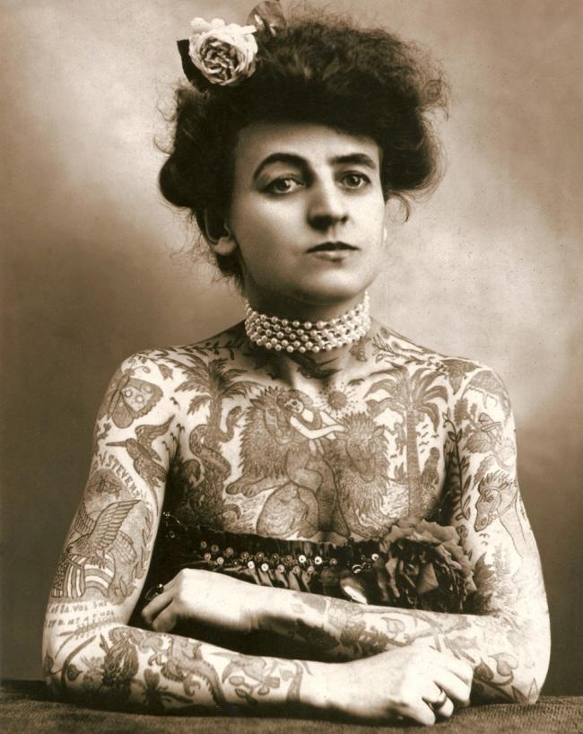 Unknown photographer. 'Maud Stevens Wagner, tattoo artist' Nd