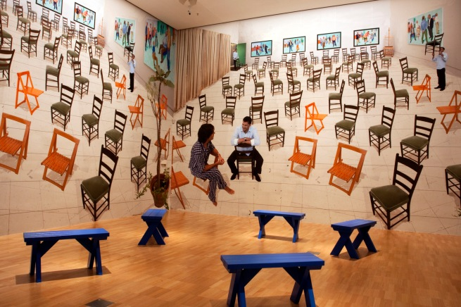 David Hockney (English 1937- ) 'The chairs' and 'four blue stools' 2014