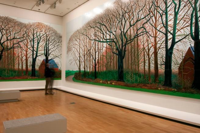 David Hockney (English 1937- ) Bigger trees near Warter or/ou Peinture sur le motif pour le nouvel age post-photographique 2007 Oil on 50 canvases 459.0 x 1225.0 cm (overall) Tate, London