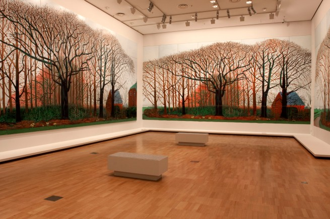 David Hockney (English 1937- ) Bigger trees near Warter or/ou Peinture sur le motif pour le nouvel age post-photographique 2007 Oil on 50 canvases 459.0 x 1225.0 cm (overall) Tate, London