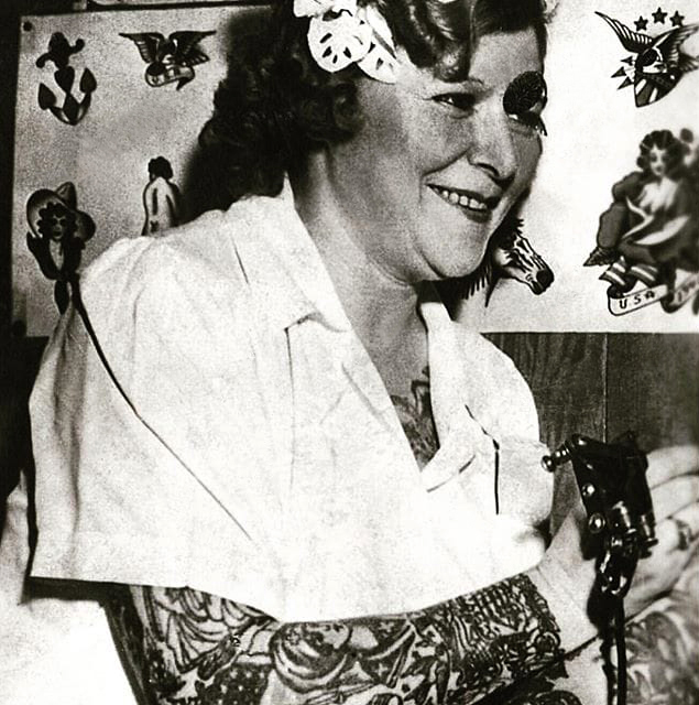 Unknown photographer. 'Untitled [Millie Hull tattooing in her studio]' Nd