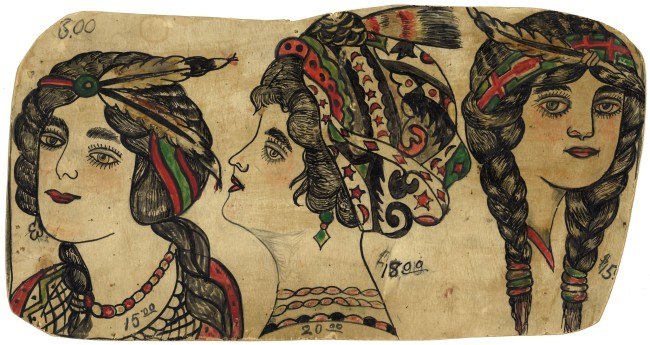 """Augustus """"Gus"""" Wagner. 'Pages from """"Souvenirs of the Travels and Experiences of the Original Gus Wagner, Globe Trotter & Tattoo Artist"""" scrapbook' c. 1897-1941 (detail)"""