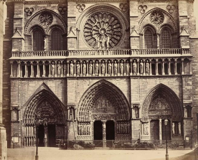 Louis-Auguste Bisson (French, 1814-1876) 'Cathedral of Notre Dame, Paris (detail of facade)' c. 1853