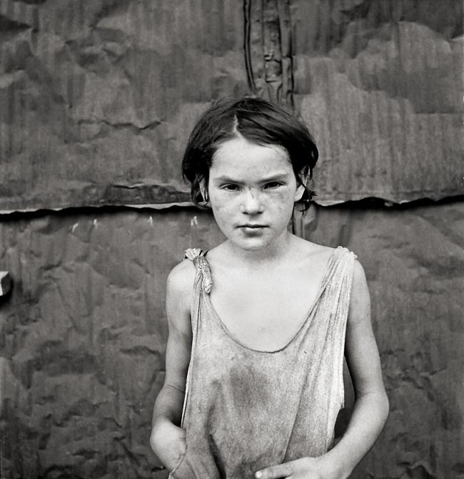 Dorothea Lange. 'A young girl living in a shack town near Oklahoma City, Oklahoma' 1936