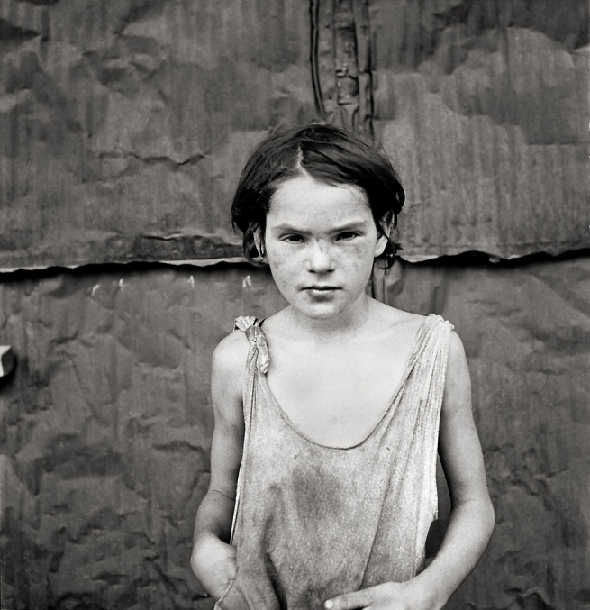 Dorothea Lange. 'A young girl living in a shack town near Oklahoma City, Oklahoma' 1936