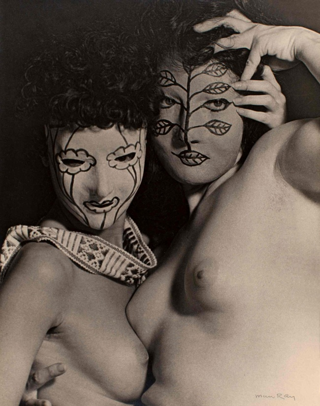 Man Ray. 'Juliet and Margaret Nieman in Papier-Mâché Masks' c. 1945