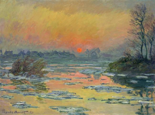 Claude Monet (1840-1926) 'Sunset on the Seine in Winter' 1880