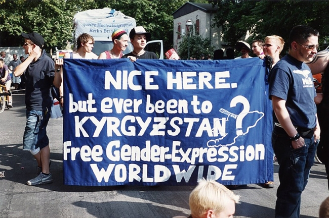 Wolfgang Tillmans (German, born 1968) 'NICE HERE but ever been to KRYGYZSTAN free Gender Expression WORLDWIDE' 2006