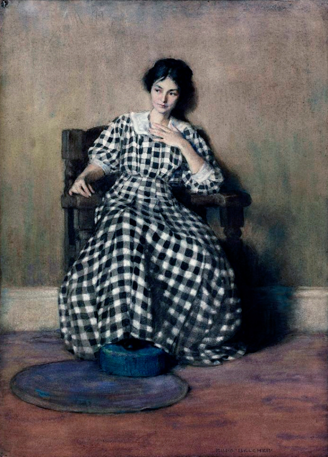 Hilda Belcher (American 1881-1963) 'The Checkered Dress (Young Georgia O'Keeffe)' 1907