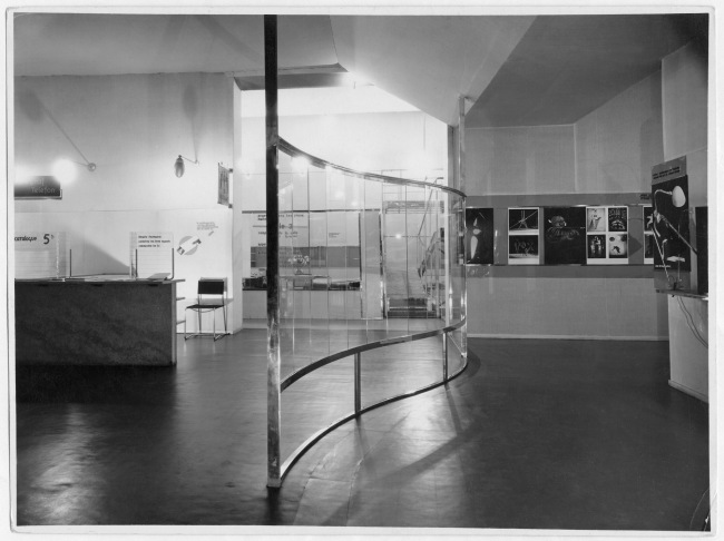 Installation view of Room 2, designed by László Moholy-Nagy, of the German section of the annual salon of the Society of Decorative Artists, Paris, May 14-July 13, 1930