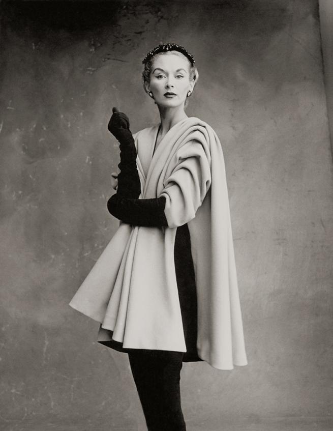 Irving Penn (American, Plainfield, New Jersey 1917-2009 New York) 'Balenciaga Mantle Coat (Lisa Fonssagrives-Penn), Paris' 1950, printed 1988