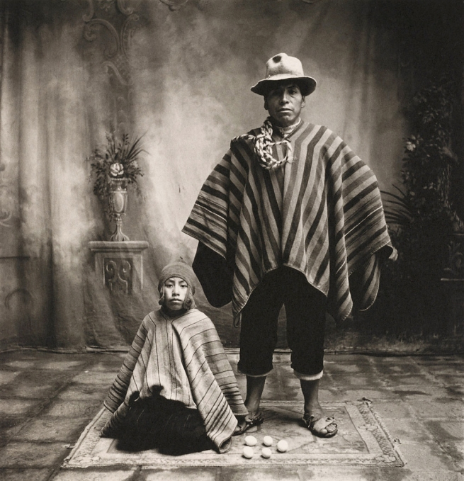 Irving Penn (American, Plainfield, New Jersey 1917-2009 New York) 'Cuzco Father and Son with Eggs' December 1948, printed January 1982