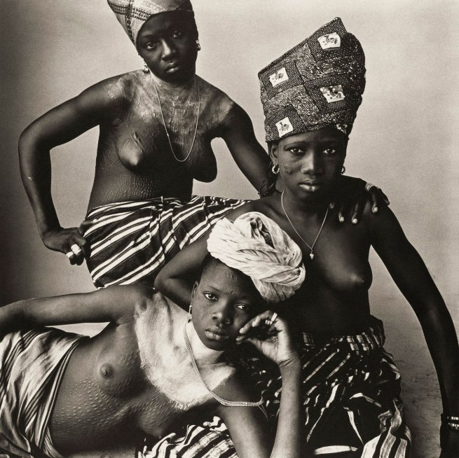 Irving Penn (American, Plainfield, New Jersey 1917-2009 New York) 'Three Dahomey Girls, One Reclining, 1967' 1967, printed 1980
