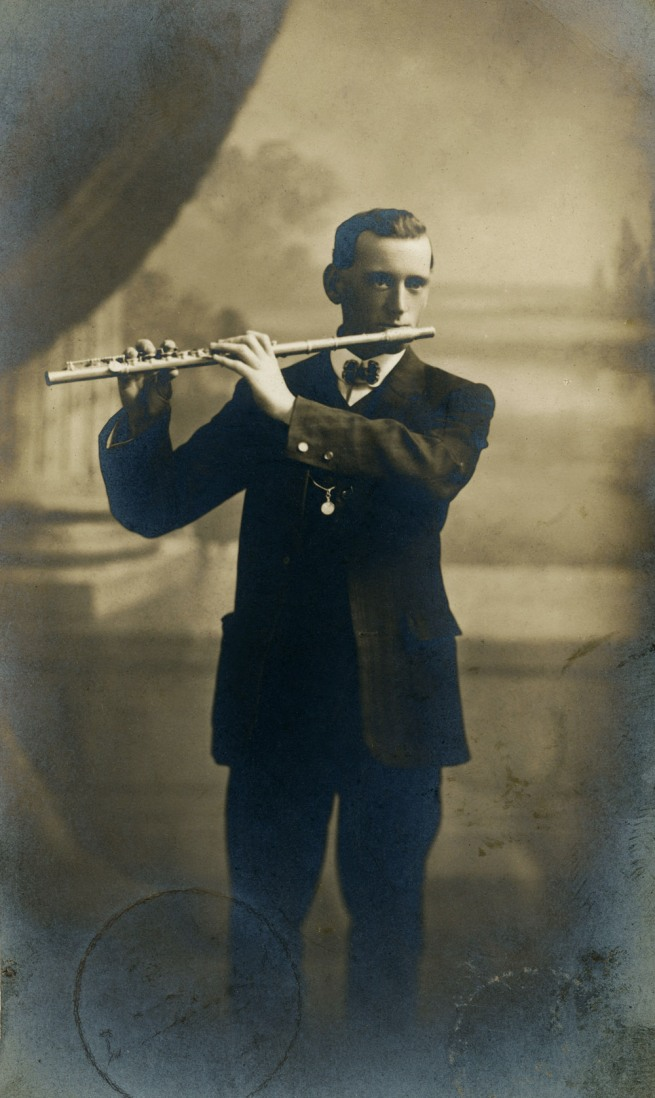 Talma Studios. 'Arthur Kean playing a flute' 1915